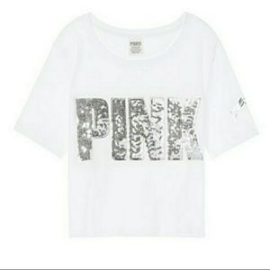 VS Pink Bling Cropped Tee Crop Top Shirt White NWT